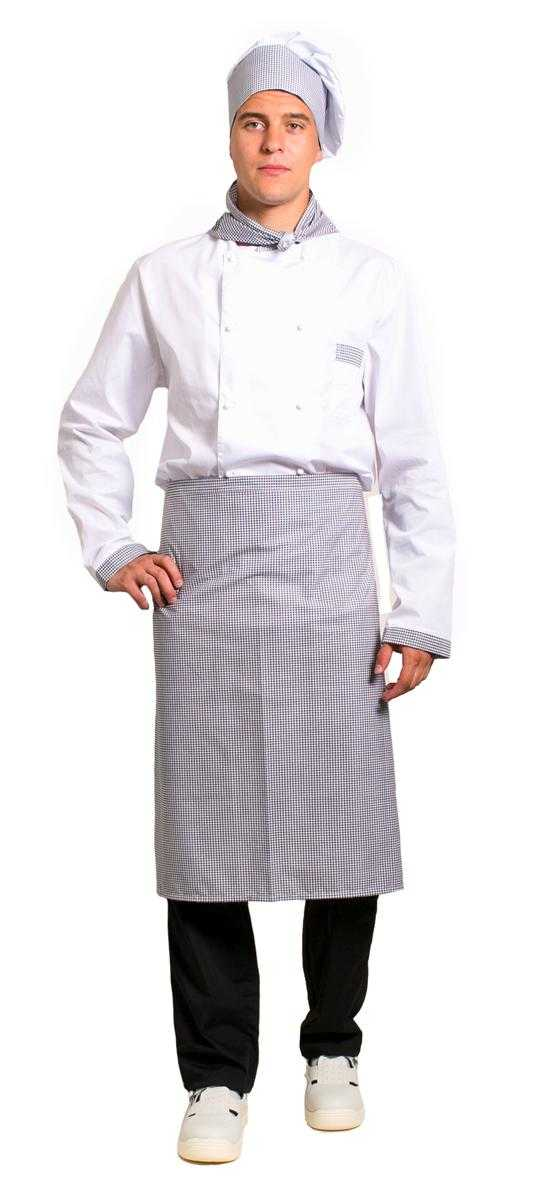 Шеф 2 белыйсерый - Костюм повара Шеф-2 (тк.ТиСи), белый/черный/принт-клетка