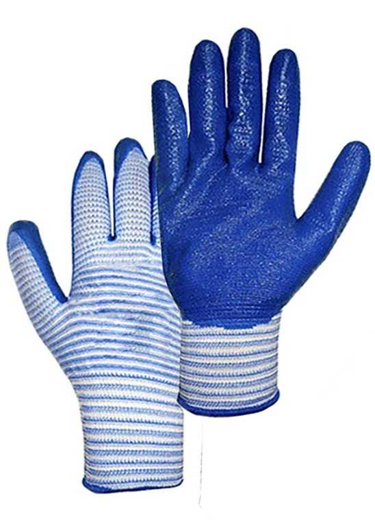 1 - Перчатки нейлоновые с нитриловым покрытием (полоса Лайт)