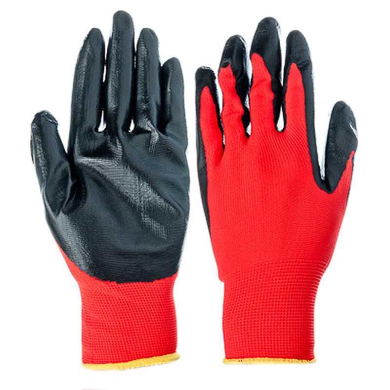 1c7ddba76d0f67d3452689571503c655 - Перчатки нейлоновые с нитриловым покрытием , красно/черные