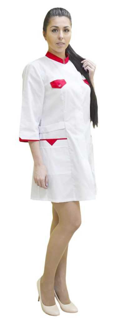 DSC 0015 375x1024 - Халат медицинский женский Магнолия , красный