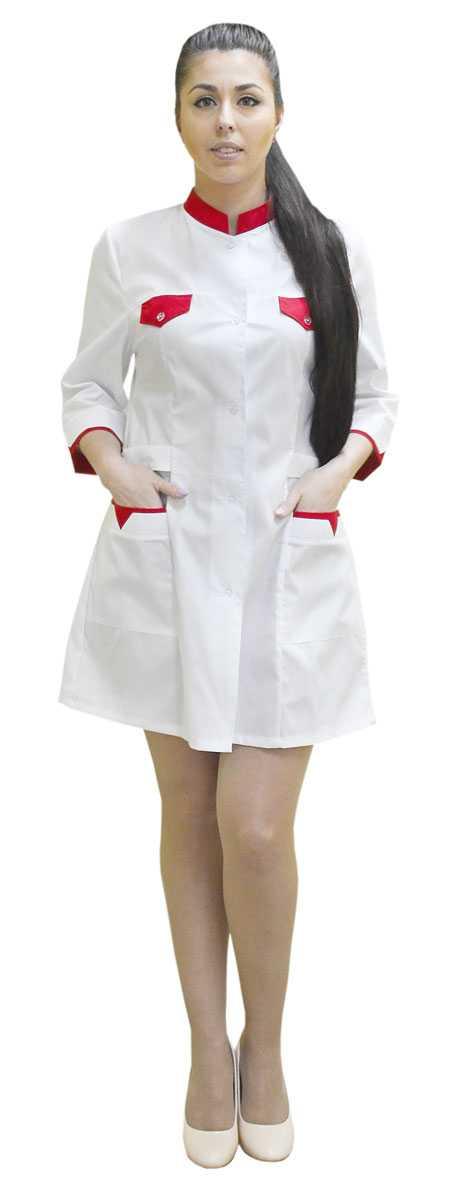 DSC 0019 - Халат медицинский женский Магнолия , красный