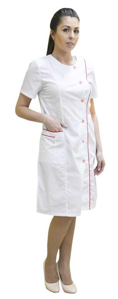 DSC 0026 405x1024 - Халат медицинский женский Лира ,белый/красный