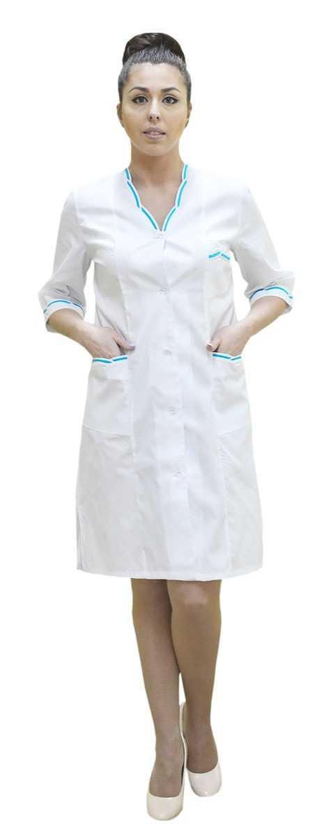 DSC 0100 1 - Халат медицинский женский Лагуна,бирюза