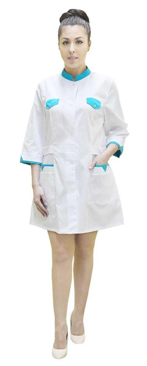 DSC 0117 2 - Халат медицинский женский Магнолия , бирюза