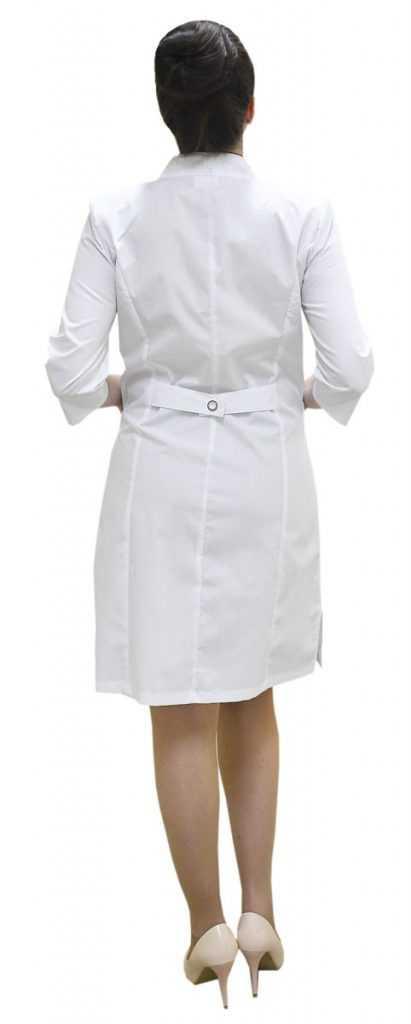 DSC 0157 411x1024 - Халат женский медицинский Сабрина , белый/черный