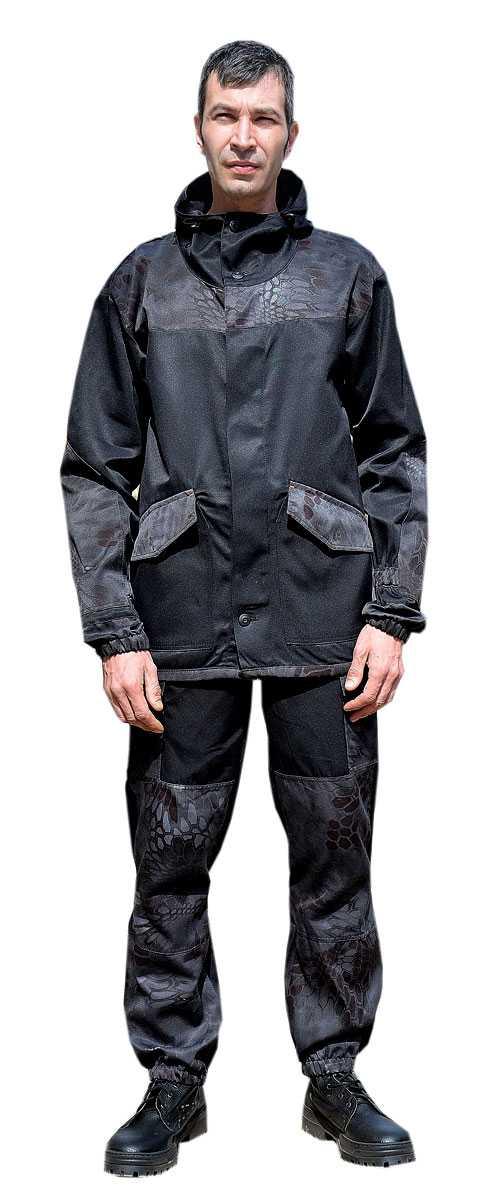 """DSC 0243 1 - Костюм """"ГОРКА-ГОРЕЦ"""" куртка/брюки, цвет: Черный/кмф """"Питон черный"""", ткань: Грета"""