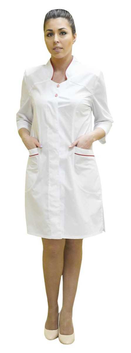 DSC 0997 - Халат женский медицинский Сабрина , белый/красный