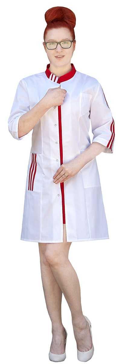 IMG 6135 - Халат медицинский женский Спринт, белый/красный