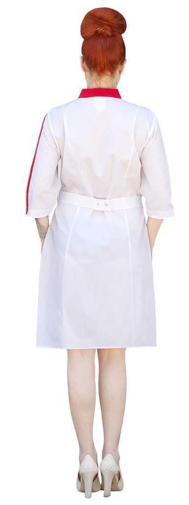IMG 6144 1 383x1024 - Халат медицинский женский Спринт, белый/красный