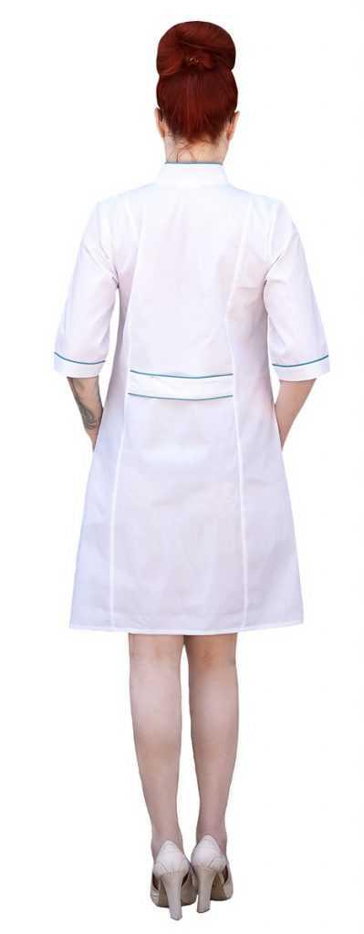 IMG 6182 399x1024 - Халат медицинский женский Силуэт , зеленый (рукав 3/4)