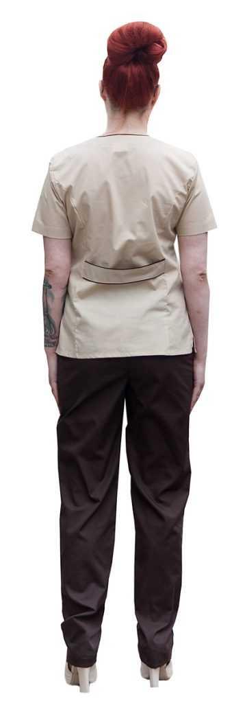 IMG 6684 358x1024 - Костюм медицинский женский Шоколадница , бежевый/шоколадный
