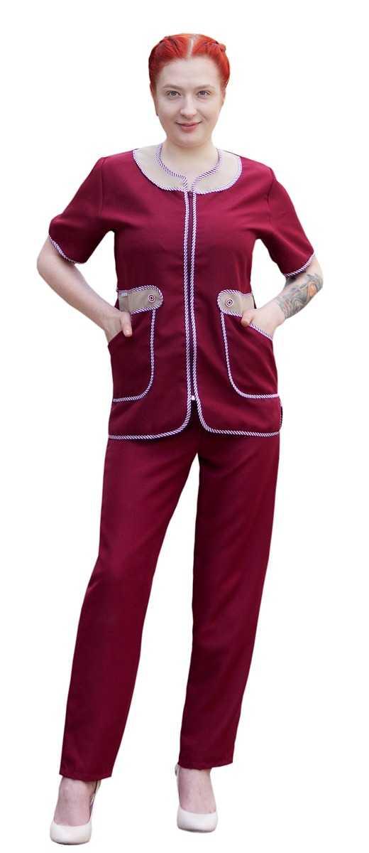 IMG 7063 - Костюм женский Модница, бордовый /бежевый