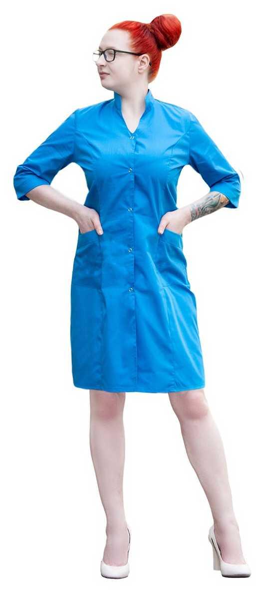 MG 5786 2 1 - Халат медицинский женский  Грация ,голубой