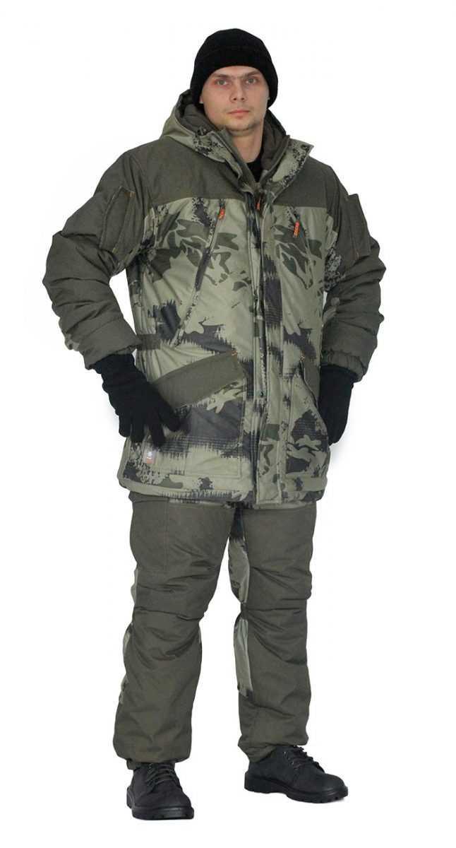 """bdeb0cbce3d7abfdedf227f90c7eb8f4 - Костюм зимний «ГЕРКОН» куртка/брюки, цвет: кмф """"смог""""/т.олива, ткань: Алова/Финляндия"""