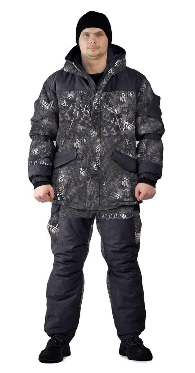 "f4221923d3b428558c8a5f12291764c8 - Костюм зимний «ГЕРКОН» куртка/брюки, цвет: кмф ""черный питон"", ткань: Алова/Кошачий глаз"