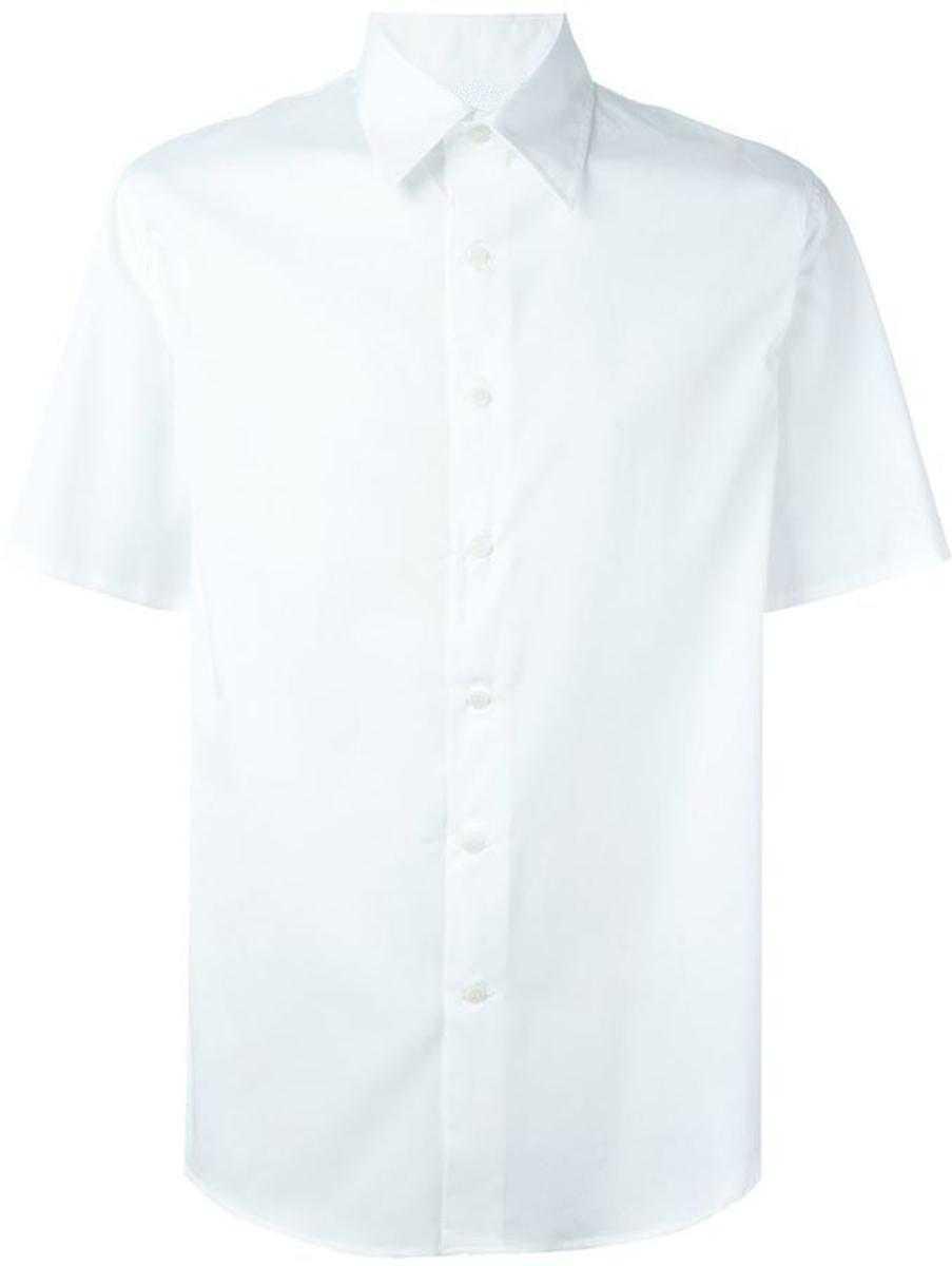с коротким рук - Сорочка классическая с коротким рукавом, цв. белый