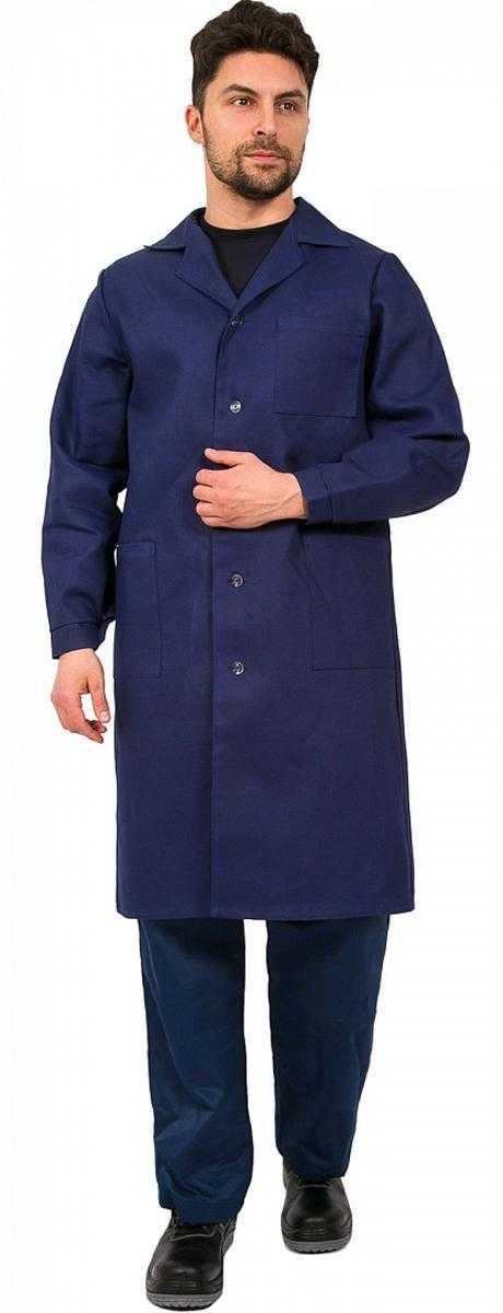 317ed30c2cb6158ebfba99ec709fcc73 - Халат мужской рабочий (тк.Диагональ,195), т.синий