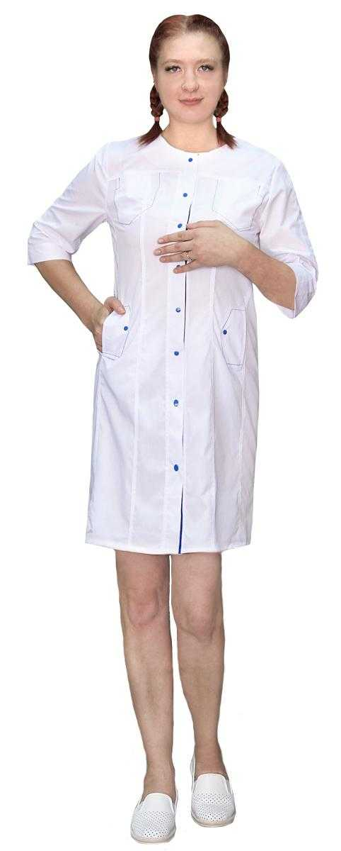 IMG 7889 - Халат медицинский женский АЛЬФА, белый/синий
