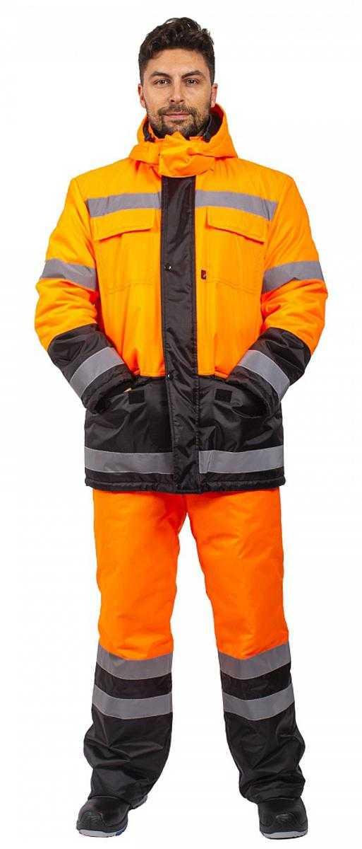 i   i  20 - Костюм зимний Дорожник (тк.Оксфорд) брюки, оранжевый/черный