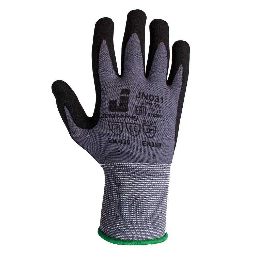 js jn031 - Защитные промышленные трикотажные перчатки из полиэстера с микронитриловым покрытием ладони JN031