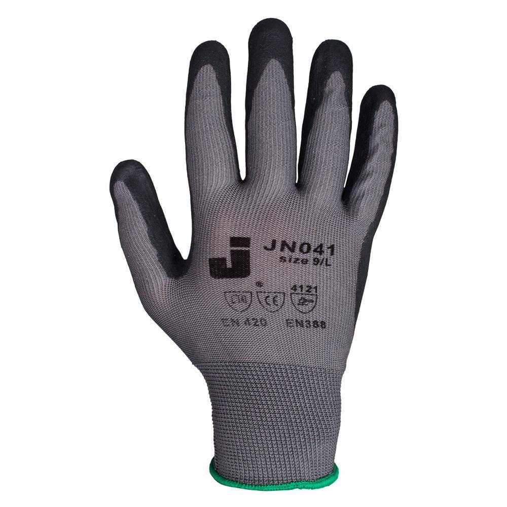 js jn041 - Защитные промышленные трикотажные перчатки из полиэстера с пенонитриловым покрытием ладони JN041