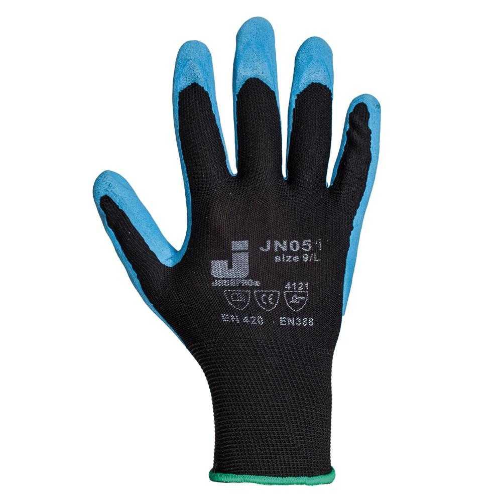 js jn051 - Защитные промышленные трикотажные перчатки из полиэстера с с рельефным нитриловым покрытием ладони JN051