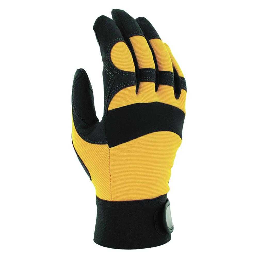 js xrt - Перчатки защитные трикотажные с ладонной стороны из искусственной кожи от вибрации JAV01, черно-желтые