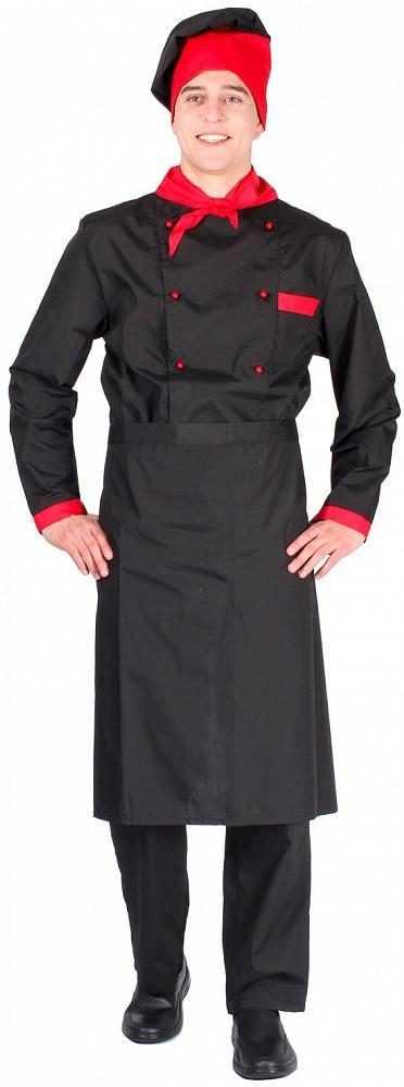 11c5251f25cd30ad523996824ccd1684 e1593425359926 - Костюм мужской повара Су-Шеф (тк.ТиСи), черный/красный