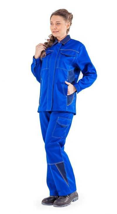 400x731 - Костюм рабочий женский летний Страйк, цвет василек/темно-синий