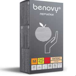 BENOVY™ латексные опудренные 49гр. 50 пар 250x250 - Перчатки BENOVY™ латексные опудренные 4,9гр. (50 пар)