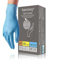 BENOVY™ нитриловые 3гр. 50 пар голубой 250x250 - Перчатки BENOVY™ нитриловые 3гр. (50 пар), голубой