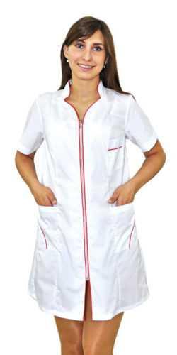 DSC 4948 250x500 - Халат медицинский женский Силуэт , белый/красный (короткий рукав)