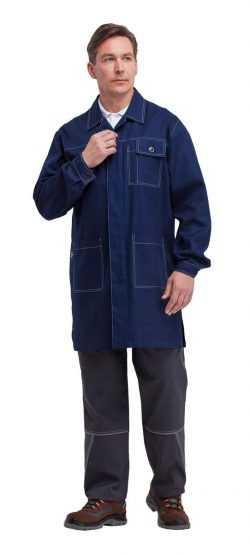 khal305 1 250x554 - Халат рабочий мужской летний/демисезонный Акцент цвет темно-синий