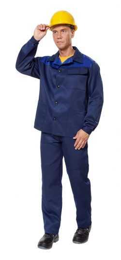 "kos316 psk 17 1 122 250x535 - Костюм рабочий мужской летний ""Дамаск"" цвет темно-синий/василек"