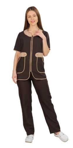 001 1 250x503 - Костюм женский Модница, коричневый/бежевый