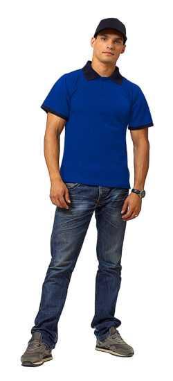 """fut505 vasilek chernyy1 250x549 - Рубашка поло """"Мегаполис"""" короткий рукав василек/т.синий"""