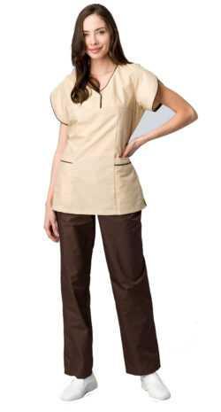 женский Мокко 250x465 - Костюм женский Мокко (тк.ТиСи,120), коричневый/бежевый