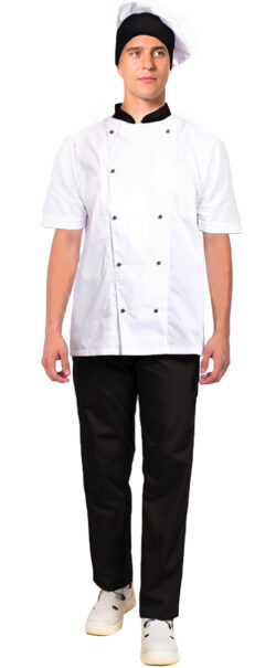 1ac3b4293aec293d6315d7999b4d0fb9 250x605 - Костюм повара с коротким рукавом Шоколад (тк.ТиСи), черный/белый