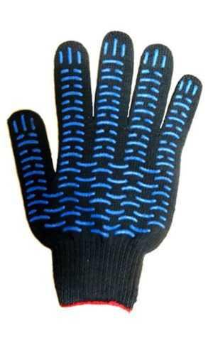 Перчатки х.б 5-ти нитка с ПВХ черные волна ( 10 кл.)