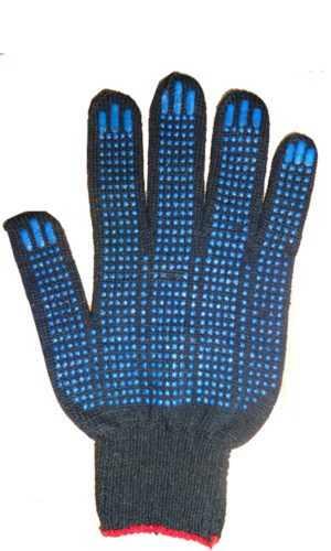 Перчатки х.б 5-ти нитка с ПВХ черные точка ( 10 кл.) поп